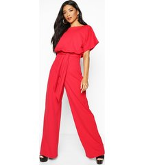 double layer jumpsuit, red