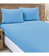 jogo de cama city azul liso solteiro 02 peã§as - malha 100% algodã£o. - azul - dafiti