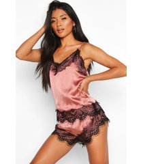 contrast piping button down satin pyjama set, mink