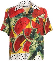 dolce & gabbana bowling shirt watermelon print