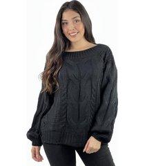 sweater lana trenzado negro enigmática boutique