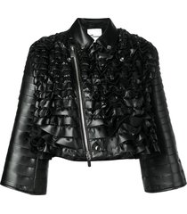 comme des garçons noir kei ninomiya ruffled biker jacket - black