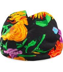 gucci x ken scott floral print velvet headband - black