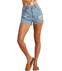 women's billabong x the salty blonde ripped denim cutoff shorts, size 26 - blue