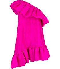 one shoulder ruffle a-line dress