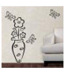 adesivo de parede floral 05 (vaso com flores e borboletas) - m 45x25cm