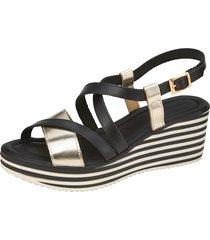 sandaletter klingel svart::guldfärgad