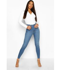 stretch booty shaping skinny jeans met hoge taille, middenblauw