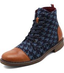 botas lana natural cruda azul gallineto