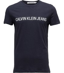 core institutional logo slim tee t-shirts short-sleeved blå calvin klein jeans
