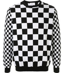 ports v checkered slim-fit sweatshirt - black