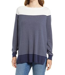 caslon(r) women's colorblock stripe sweater, size xx-large in navy placed stripe at nordstrom
