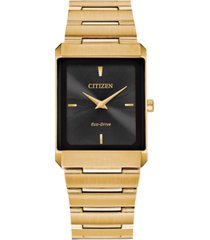 citizen eco-drive unisex stiletto gold-tone stainless steel bracelet watch 28x38mm