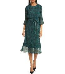 women's boss diplie mini dot plisse midi dress