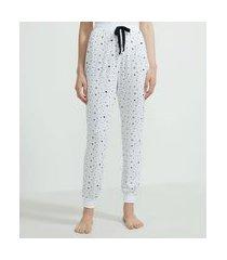 calça de pijama jogger em viscolycra estampa estrelinhas | lov | branco | gg