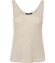 women's vero moda hanna rib sweater tank, size large - beige