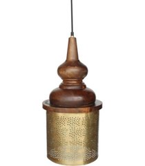 "villa2 celestial ""jaali"" shade pendant with hand carved wooden shade holder in brushed retro rich look lacquered finish 25 watt"