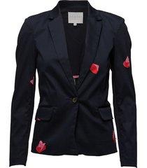 suit jacket w. blot print blazer kavaj svart coster copenhagen