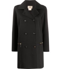 hermès 1990s pre-owned thigh-length double-breasted coat - black