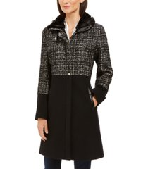 via spiga tweed faux-fur-collar coat