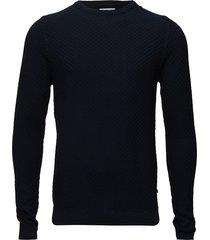 albert 6194 gebreide trui met ronde kraag blauw nn07