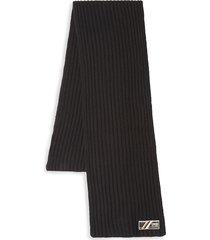 cavalli class men's ribbed-knit wool scarf - black