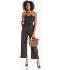 greylin women's cristal stripe strapless jumpsuit in color: black size xs from sole society