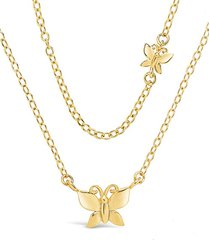 butterfly two-tier 14k goldplated necklace