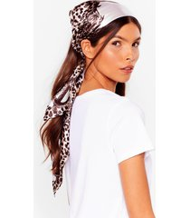 womens the here and meow leopard satin headscarf - beige