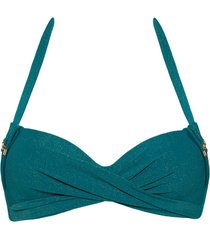 holi gypsy deep plunge balcony bikini top | wired padded sparkling teal green - 40d