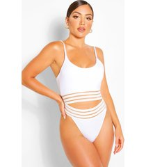mesh detail tanga bikini brief, white