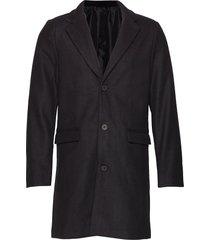 outerwear wollen jas lange jas zwart casual friday