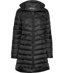 kataja w+ quilted jacket gevoerde lange jas zwart halti