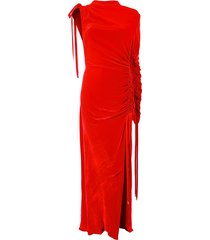 monse ruched velvet gown - red