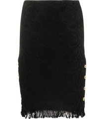 marine serre upcycled floral-jacquard pencil skirt - black
