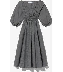 proenza schouler white label plaid puff sleeve poplin dress black/white 4