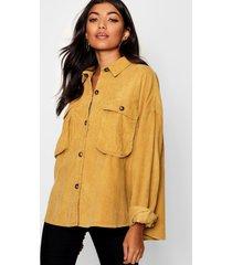 super oversize mock horn button cord shirt, mustard