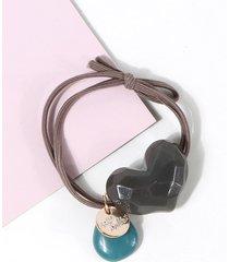 heart shape pendant elastic hair tie
