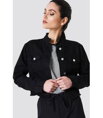 na-kd trend raw hem short denim jacket - black