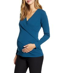 women's angel maternity crossover maternity/nursing top, size large - blue/green