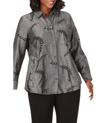 plus size women's foxcroft cici embroidered tencel lyocell tunic shirt