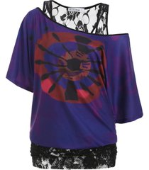 printed batwing sleeve lace panel plus size top