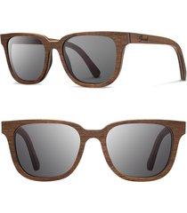 men's shwood 'prescott' 53mm wood sunglasses - walnut/ grey