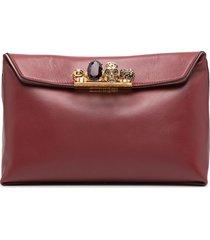 alexander mcqueen crystal-embellished ring-detail clutch bag - red
