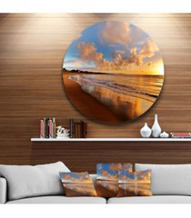 """designart 'colorful sunset on the beach' landscape round circle metal wall art - 23"""" x 23"""""""