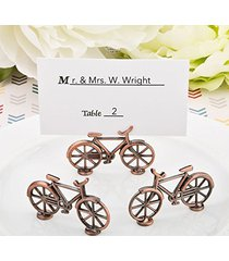 100 vintage bicycle design antique copper color metal placecard holder / photo h