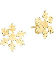 saks fifth avenue women's 14k yellow gold snowflake stud earrings