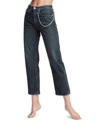 maya high-rise chain ankle straight jeans
