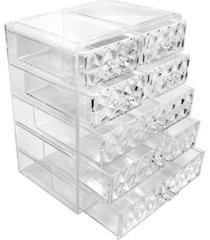 sorbus cosmetic makeup and jewelry storage case display - 3 large 4 small drawers