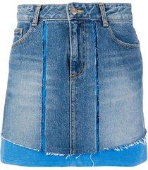 sjyp corduroy mixed denim skirt - blue